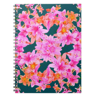 Mulitcolored Floral Pattern Spiral Note Books