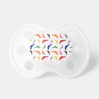 Mulitcolored gun pattern baby pacifier