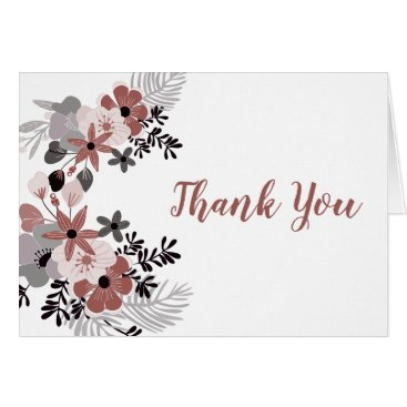 Wedding Themed Mulled Wine and Blush Pink Floral Thank You Card