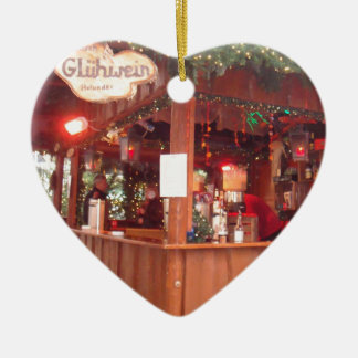 Mulled Wine Booth in Hamburg Double-Sided Heart Ceramic Christmas Ornament