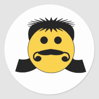 Mullet Smiley Classic Round Sticker