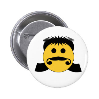 Mullet Smiley Pinback Button