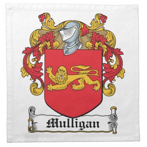 Mulligan Family Crest Cloth Napkins