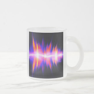 Mullticolored Abstract Audio Waveform Frosted Glass Coffee Mug
