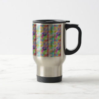 MULTI262 COLOURFUL SQUARE PATTERNS SHADES COUNTRY TRAVEL MUG
