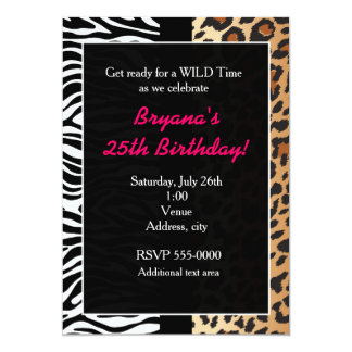 Multi Animal Print Cheetah Leopard Zebra Invite