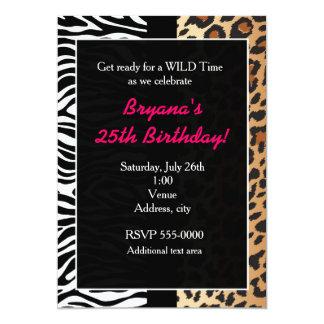 Multi Animal Print Cheetah Leopard Zebra Invite Invitations
