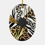 Multi Animal Prints Zebra Tiger Add Text Initial Ornament