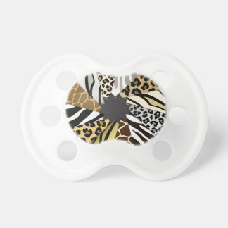 Multi Animal Prints Zebra Tiger Add Text Initial Pacifier