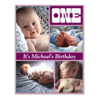 Multi Annual Purple One Birthday Frame Card
