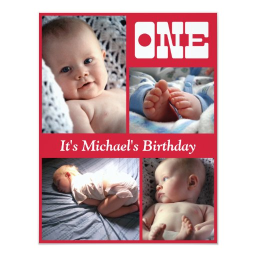 Multi Annual Red One Birthday Frame 4.25x5.5 Paper Invitation Card