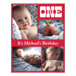 Multi Annual Red One Birthday Frame Invitations