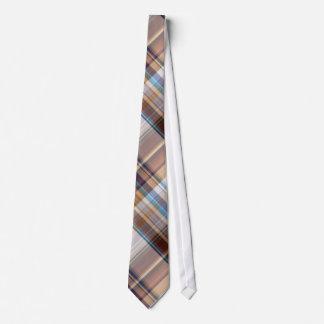 Multi Blue/Brown Color Plaid Pattern Men's Tie