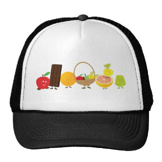 Multi-character food cartoon mesh hat