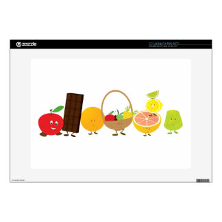 "Multi-character food cartoon 15"" laptop decal"