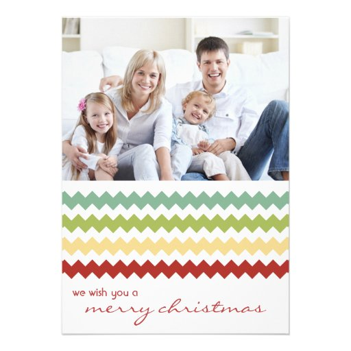 Multi Chevron Chic Family Holiday Flat Card