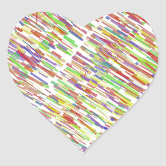 Multi-Color Abstract Lines Pattern Heart Sticker