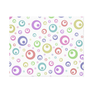 Multi-Color Abstract Polka Dots (Light) Stretched Canvas Prints