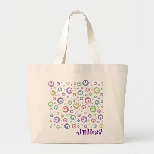 Multi-Color Abstract Polka Dots (Light) Large Tote Bag