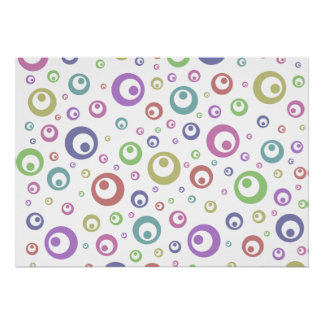 Multi-Color Abstract Polka Dots (Light) Posters