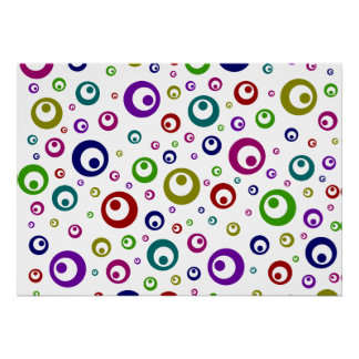Multi-Color Abstract Polka Dots Poster