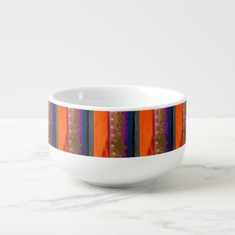 Multi-color Abstract Stripes Soup Bowl