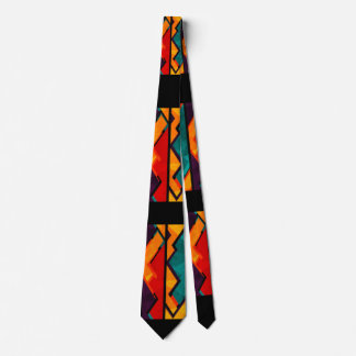 Multi Color African Pattern Print Design Neck Tie