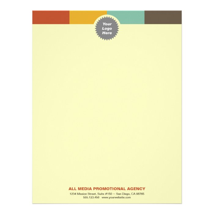 Multi color bar custom circle logo professional letterhead