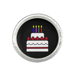 Multi Color Birthday Cake With Candles On Black Ring