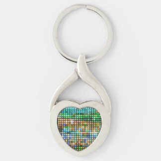Multi-Color Bling Twisted Heart Metal Keychain