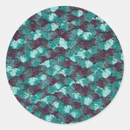 Multi-color blue crochet classic round sticker