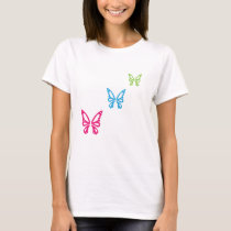 Multi-Color Butterflies Women's Basic T-Shirt