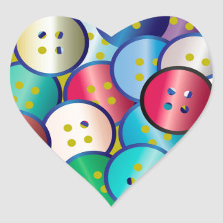 Multi Color Button Background Heart Sticker
