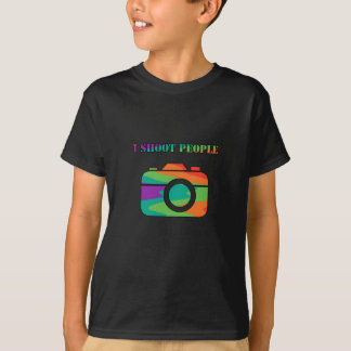 Multi Color Camera I Shoot People T-Shirt