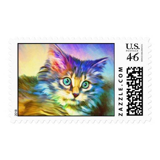 Multi-color Cat Stamp