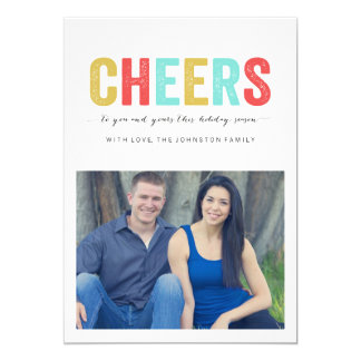 """Multi Color Cheers Christmas Photo Flat Cards 5"""" X 7"""" Invitation Card"""