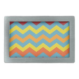 Multi color chevron pattern rectangular belt buckles