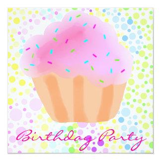 Multi Color CupCake Birthday Invitation