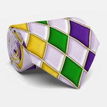 Multi Color Diamond Pattern Mardi Gras Tie d2