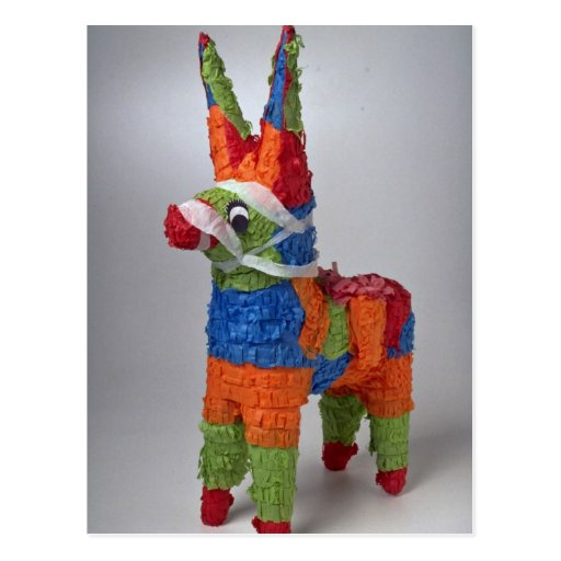 Multi Color Donkey pinata for parties Postcard