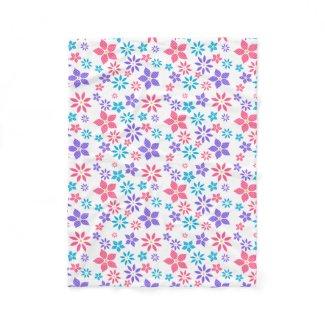 Multi-color Floral Random Pattern Fleece Blanket