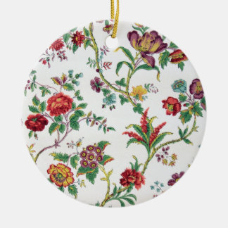 Multi-color floral wallpaper, c. 1912 Double-Sided ceramic round christmas ornament