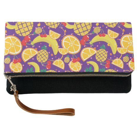 Multi Color Fruits Fold Over Clutch