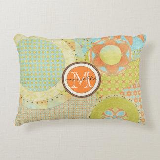 Multi Color Geometric Shapes Bright Monogram Decorative Pillow