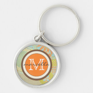 Multi Color Geometric Shapes Bright Monogram Silver-Colored Round Keychain