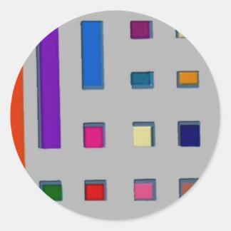 Multi color geometric classic round sticker