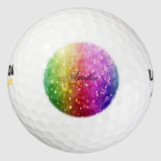 multi color,glitter,glam,chakra,fun,girly,trendy,o pack of golf balls