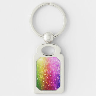 multi color,glitter,glam,chakra,fun,girly,trendy, Silver-Colored rectangular metal keychain