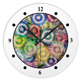 Multi Color Grunge Circles Pattern Wall Clocks