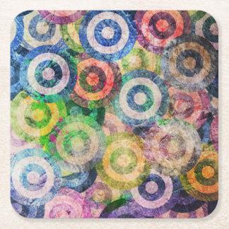Multi Color Grunge Circles Pattern Square Paper Coaster